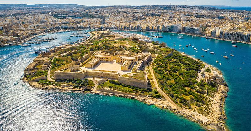 Gzira och Manoel Island på Malta